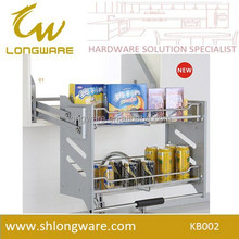 SS 2 layer Kitchen pull basket,chrome plated kitchen pull out basket,High Quality pull basket