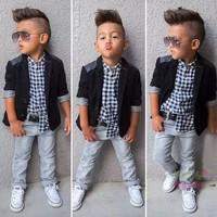 2015 Stylish Boy Autumn Clothes Sets Kids Three Piece Sets Boy Grid T-shirt +Business Suit +Denim Pants Outfits