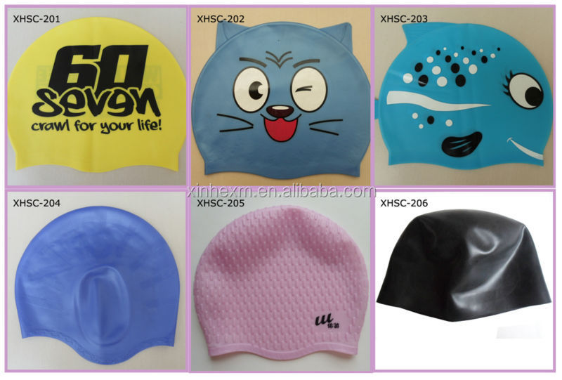 high quality funny silicone swimming cap