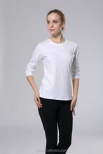 Women fashion long sleeve plain t shirt