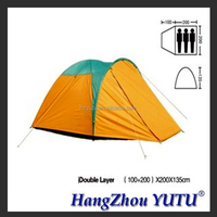 YT-012 3 Person Double Layer Ripstop Polyester Family Camping Tent With Fiberglass Pole