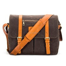 16 OZ waxed canvas camera bag with genuine leather trims