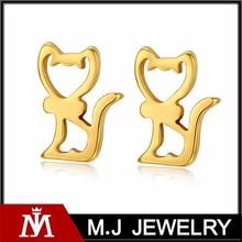Cartoon cat stud earring girls stainless steel 18k gold plated imitation animal jewelry