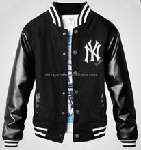 Customized basball Jacket with leather sleeves