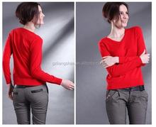 Ladies fashion designs of woolen sweater winter warm pullover V neck red jumper knitted designs of woolen sweater