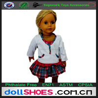 Lovely 18inch doll sport top with check skirt, classical doll sport outfits