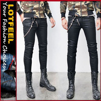 Wax Coat Seaming Zip Biker Skinny Jean (LOTG044)
