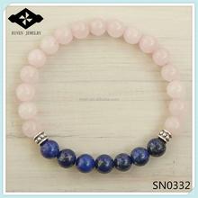 sn0332 donna braccialetto tratto meditazione yoga braccialetto rosa quarzo pietra naturale e pietra lapislazzuli braccialetto