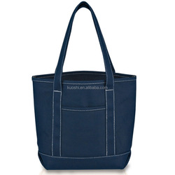 Blue color cotton handled cities shopping bag manufacture
