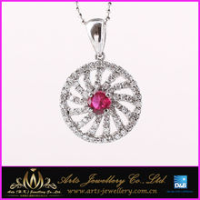 New 925 sterling silver wheel pendant with ruby