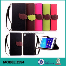 Stand Leather Wallet Case With Hand Strap For Sony Xperia Z5 phone case