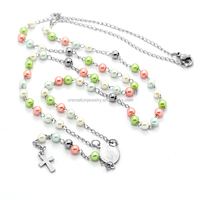 Religious Gifts Lovely Children's Colorful Plastic Beads Rosary Necklace Catholic Kid's Baptism Favors Plastic Rosary Jewelry