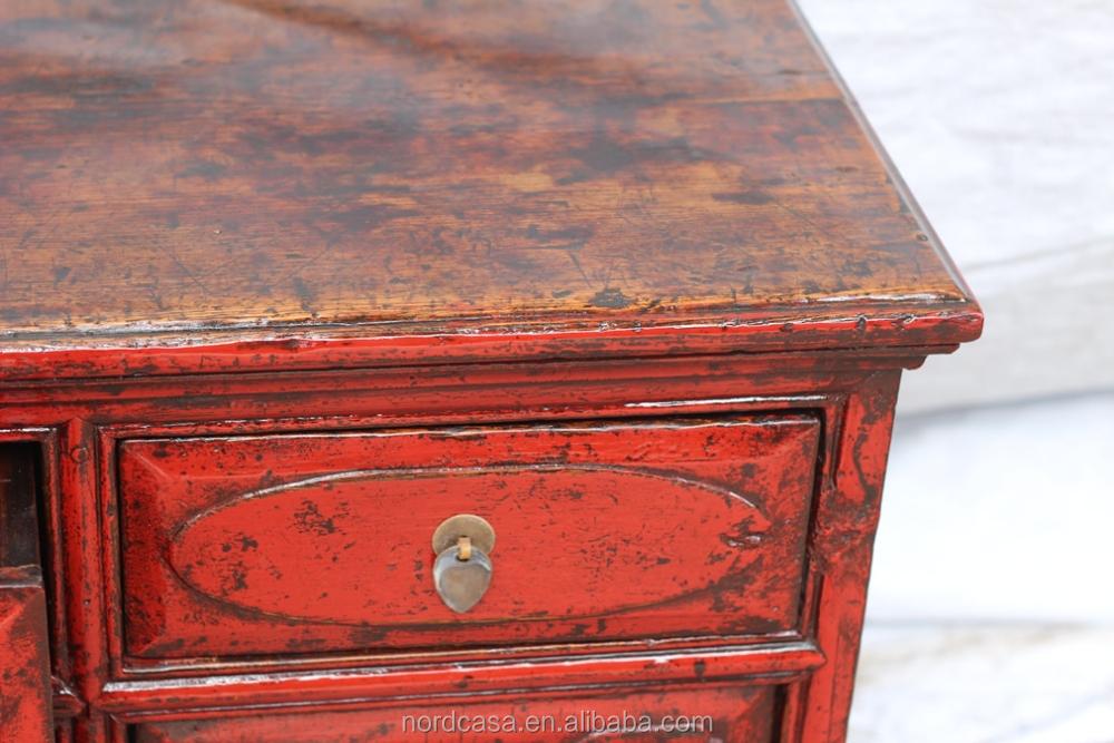 Meuble TV avec 4 tiroirs 4 portes rouge antique armoire