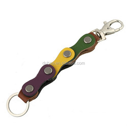 Bicycle Chain Loop Brown Leather Strap Keyring Keychain Key Chain Ring Key Fob for Men