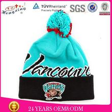 Cheap 3D Ebroidery Logo Knitted Woven Winter Hat / Custom Knitted Pom Beanie Hat