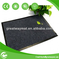 Striped polyester pile plastic ground mat outdoor