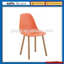 GY-616 Italy Style Commercial Plastic Dining Chair With Wood Legs