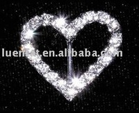rhinestone heart ribbon buckle,1.5cm buckle