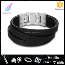 hot sale new stainless steel clasp wrist band bracelet leather stainless