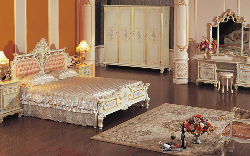 Hand Carved Bedroom Furniture : Classic Bedroom Furniture - Hand Carved Leaf Gilding Bedroom Set - Buy ...