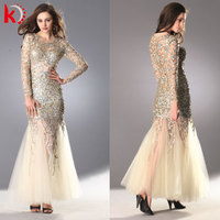 Charming Superior Handmade Beaded Sequins Transparent Long Sleeves Floor Length Sexy Evening Dresses
