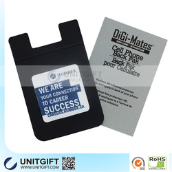 Sell new product silicone mobile phone card holder / cell phone credit card holder with screen cleaner