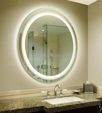 LED Lighting Round Framed Mirror in Washroom, Vanity Metal Mirror Frame