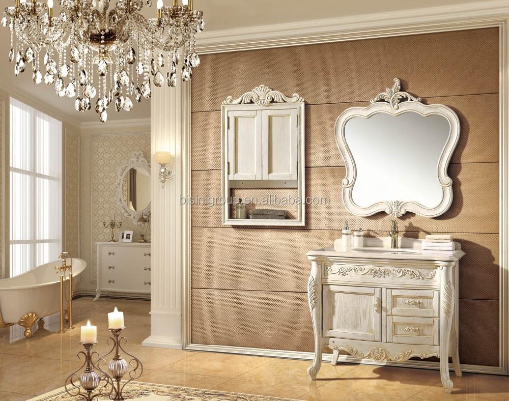 Elegant Cozy French Design Bathroom Furniture High End Romantic Solid Wood Bathroom Vanity Bf08