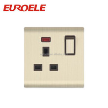 British standard gold aluminum faceplate 13A 3 pin electrical wall switch prices with neon