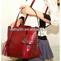 2013 latest style Red PU leather lady handbag shoulder bag for promotion