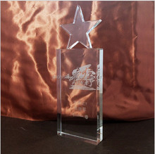 2015 new design beautiful star crystal trophy award