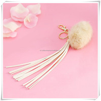 fashion long imitation suede keychain tassel with pompon