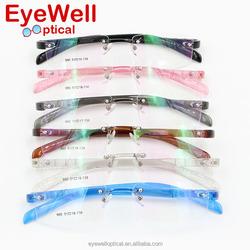High quality beautiful multicolour jelly plastic rimless memory eyeglasses frame Rimless colorful plastic optical frames