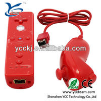 Best quality 2in1 Nunchuck Remote Controller for Nintendo WII Motion Plus Inside Red