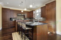 Guangzhou supplier Maple solid wood coffee glazed kitchen cabinet