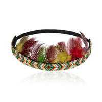 wholesale high quality women hair accessories vintage handmade stretch beaded feather crown headband