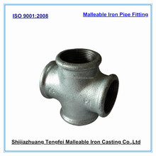 Galvainzed iron cross joint, malleable iron pipe fitting