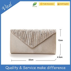 2015 new style satin and jewelry lady clutch bag