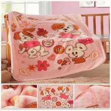 Two ply printing cartoon raschel baby blanket