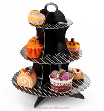 Black&White Dots 3 Tier Cardboard Cupcake Stand Paper Cupcake Stand