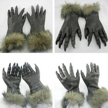 2015 new Dark Gray Wolf Gloves Halloween Costume Animal Latex Rubber