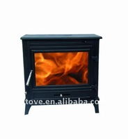 Cast iron wood burning fireplace