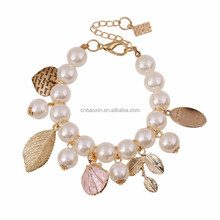 2015 Stylish Women Artificial Pearl Bracelet with five star and leaf charms