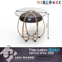 Turkish furniture living room, garden glass coffee table with metal base