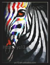 beautiful decorative colourful zebra's canvas oil painting