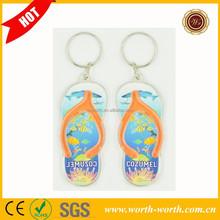 Hot New product for 2015 slipper shape plastic keychain, custom keychain for gift