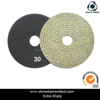 4'' Velcro Round Electroplated Polishing Pads Diamond Abrasive Tools for Marble/Granite/Concrete