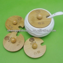 High quality Ceramic Seasoning Pot with bamboo lid and base