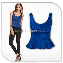 2015 new style women low back scuba fabric simple peplum top