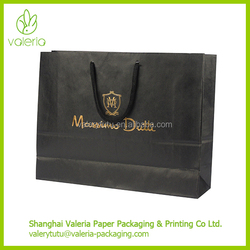 Cheap Black Kraft Paper Shopping Bags with Your Own Logo and Various Handles